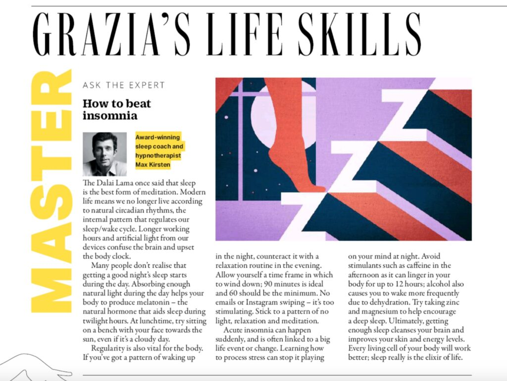 Grazia Magazine - How To Beat Insomnia With The Skeep Coach Max Kirsten